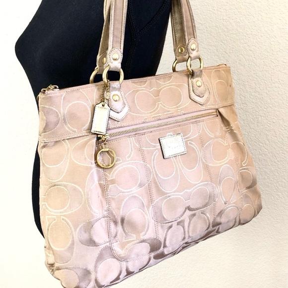 Coach Handbags - COACH tan, pink large tote w metallic highlights